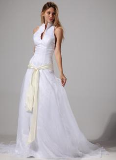 Corte A/Princesa Cabestro Tren de la corte Organdí Satén Vestido de novia con Fajas