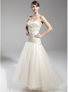 A-Line/Princess Sweetheart Floor-Length Tulle Holiday Dress With Beading Bow(s)