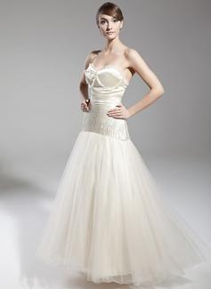A-Linie/Princess-Linie Herzausschnitt Bodenlang Tüll Festliche Kleid mit Perlen verziert Schleife(n)