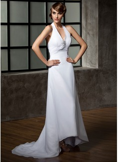 Corte A/Princesa Cabestro Asimétrico Chifón Vestido de novia con Volantes Bordado Lentejuelas