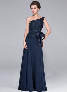 Vestidos princesa/ Formato A Um ombro Longos De chiffon Charmeuse Renda Vestido para a mãe da noiva com Bordado Curvado