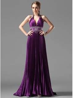 A-Line/Princess Halter Sweep Train Charmeuse Evening Dress With Ruffle Beading (017002268)