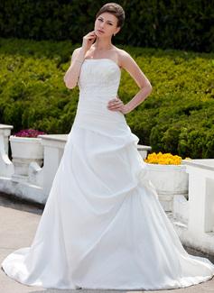 Balklänning Axelbandslös Chapel släp Taft Bröllopsklänning med Rufsar Pärlbrodering Applikationer Spetsar