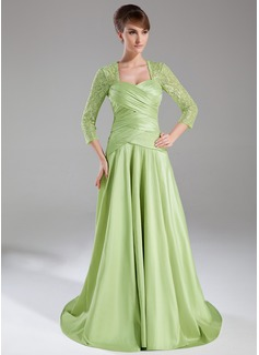 Vestidos princesa/ Formato A Coração Trem da varredura Tafetá Renda Vestido para a mãe da noiva com Pregueado