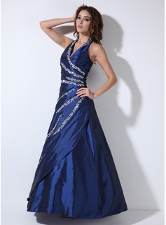 A-Line/Princess Halter Floor-Length Taffeta Quinceanera Dress With Beading Sequins (021020643)