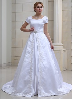 Ball-Gown V-neck Chapel Train Satin Wedding Dress With Embroidery Crystal Brooch (002001632)