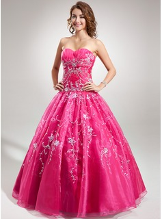 Ball-Gown Sweetheart Floor-Length Organza Quinceanera Dress With Embroidered Beading Sequins