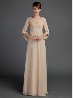 A-Line/Princess V-neck Floor-Length Chiffon Mother of the Bride Dress With Ruffle Lace Beading (008015725)