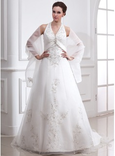 A-Line/Princess Halter Court Train Organza Satin Wedding Dress With Embroidery Beading
