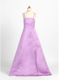 A-Line/Princess Floor-Length Satin Junior Bridesmaid Dress With Beading (009000701)