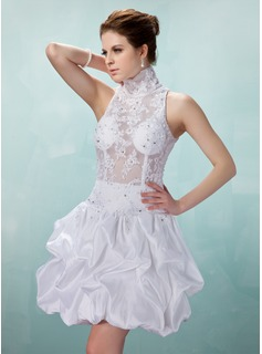 A-Line/Princess High Neck Knee-Length Taffeta Lace Cocktail Dress With Ruffle Beading (016008897)