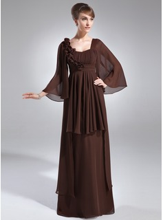 Empire Scoop Neck Floor-Length Chiffon Mother of the Bride Dress With Ruffle Flower(s) (008006391)