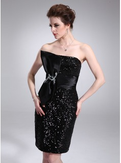 Sheath Strapless Knee-Length Charmeuse Sequined Cocktail Dress With Ruffle Beading (016008870)