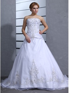 Ball-Gown Strapless Chapel Train Organza Satin Wedding Dress With Embroidery Beading