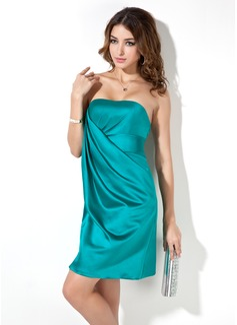Sheath/Column Strapless Short/Mini Charmeuse Cocktail Dress With Ruffle