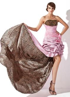 A-Line/Princess Strapless Asymmetrical Taffeta Prom Dress With Ruffle Beading Flower(s)
