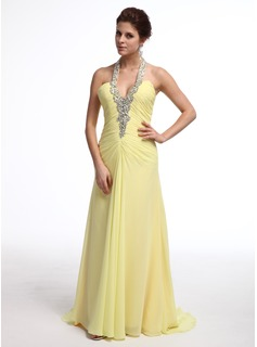 A-Line/Princess Halter Sweep Train Chiffon Evening Dress With Ruffle Beading (017026237)