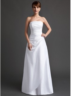 A-Line/Princess Strapless Floor-Length Taffeta Bridesmaid Dress With Ruffle
