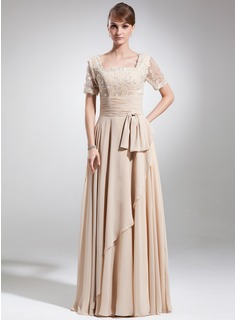 A-Line/Princess Square Neckline Floor-Length Chiffon Lace Mother of the Bride Dress With Ruffle Beading Bow(s)