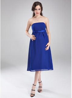 Empire Strapless Knee-Length Chiffon Charmeuse Maternity Bridesmaid Dress With Ruffle Sash (045004407)