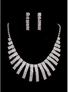 Jóias (Ladies Crystal In Sliver Alloy Wedding Jewelry Set With Necklace & Earrings 011005483)