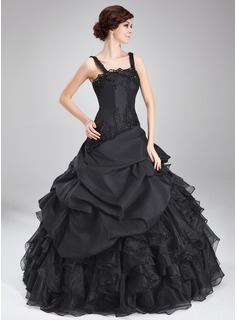Ball-Gown Square Neckline Floor-Length Taffeta Organza Quinceanera Dress With Beading Appliques Lace Cascading Ruffles