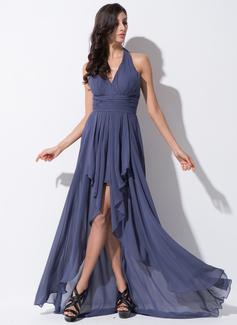 A-Line/Princess Halter Asymmetrical Chiffon Prom Dress With Bow(s) Cascading Ruffles