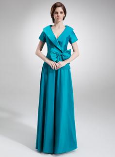 Vestidos princesa/ Formato A Decote V Longos Tafetá Vestido para a mãe da noiva com Pregueado Curvado