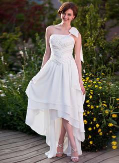 Corte A/Princesa Un sólo hombro Asimétrico Chifón Vestido de novia con Volantes Bordado Lazo(s)