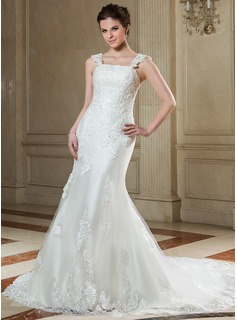 Trumpet/Mermaid Square Neckline Court Train Tulle Wedding Dress With Beading Appliques Lace Sequins Bow(s)