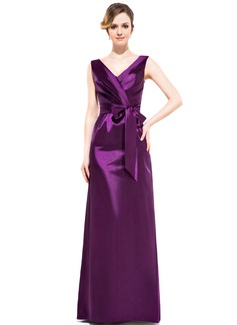 Sheath/Column V-neck Floor-Length Charmeuse Bridesmaid Dress With Ruffle Bow(s)