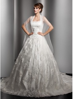 Ball-Gown Chapel Train Satin Tulle Wedding Dress With Ruffle Lace Beading