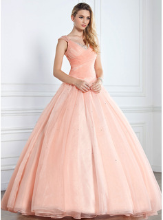 Ball-Gown V-neck Floor-Length Organza Satin Quinceanera Dress With Ruffle Beading Sequins