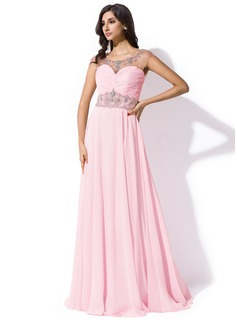 A-Line/Princess Scoop Neck Sweep Train Chiffon Tulle Prom Dress With Ruffle Beading Sequins
