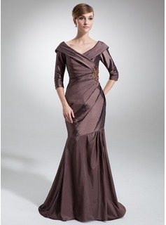 Mermaid Off-the-Shoulder Sweep Train Taffeta Mother of the Bride Dress With Ruffle Lace Beading (008006470)