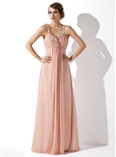 A-Line/Princess V-neck Floor-Length Chiffon Evening Dress With Ruffle Beading (017013757)