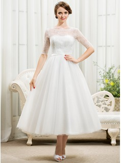A-Line/Princess Scoop Neck Tea-Length Tulle Charmeuse Lace Wedding Dress With Bow(s)