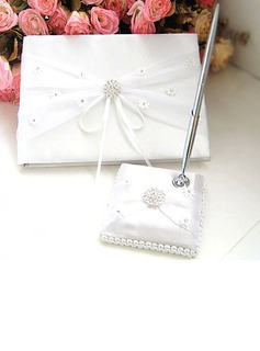 White and Ivory Satin Wedding Rhinestone Guest Book And Pen Set(101018158)