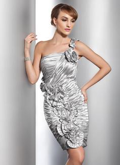 Etui-Linie One-Shoulder-Träger Knielang Charmeuse Cocktailkleid mit Rüschen Blumen