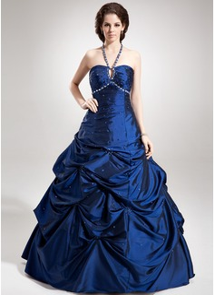A-Linie/Princess-Linie Träger Bodenlang Taft Quinceañera Kleid (Kleid für die Geburtstagsfeier) mit Rüschen Perlen verziert