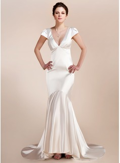 Mermaid V-neck Asymmetrical Charmeuse Wedding Dress (002012161)