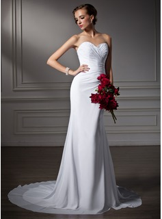 Sheath/Column Sweetheart Court Train Chiffon Wedding Dress With Ruffle Beadwork (002006370)