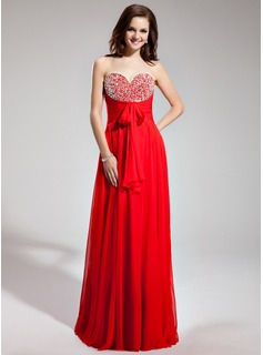 Empire Sweetheart Floor-Length Chiffon Prom Dress With Ruffle Beading Sequins Bow(s)