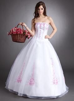 Corte de baile Estrapless Vestido Organdí Vestido de quinceañera con Bordado Bordado