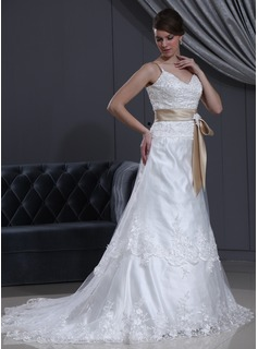 A-Line/Princess V-neck Court Train Tulle Charmeuse Wedding Dress With Lace Sashes Beadwork (002000145)