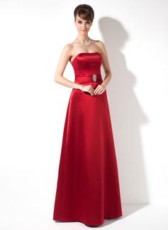 Sheath/Column Sweetheart Floor-Length Satin Bridesmaid Dress With Beading