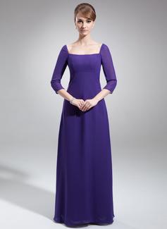Sheath/Column Square Neckline Floor-Length Chiffon Mother of the Bride Dress