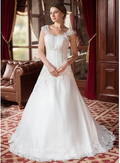 A-Line/Princess Sweetheart Court Train Organza Satin Wedding Dress With Ruffle Beading Appliques Lace