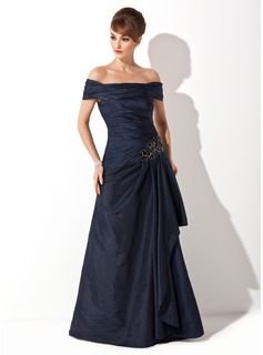 A-Line/Princess Off-the-Shoulder Sweep Train Taffeta Mother of the Bride Dress With Ruffle Beading (008021110)