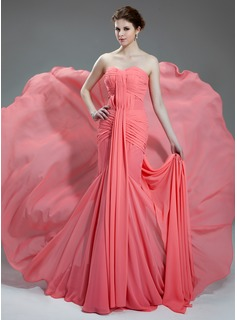 Mermaid Sweetheart Chapel Train Chiffon Prom Dress With Ruffle (018024365)